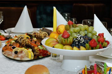 Laying of a celebratory buffet table