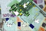 Euro banknotes puzzle poster