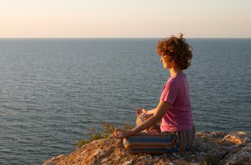 girl meditating in padmasana pose