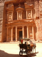 Horse carriage under the Treasury, Petra, Jordan