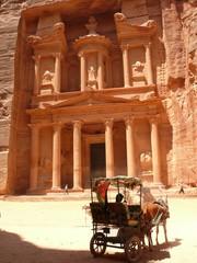 Horse carriage under the Treasury, Petra, Jordan