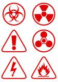 Collection de panneaux de danger rouge poster