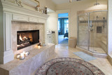 opulent bathroom with fireplace and marble poster