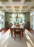 beautiful dining room with detailed crown molding