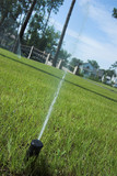 irrigation sprinkler head and green lawn