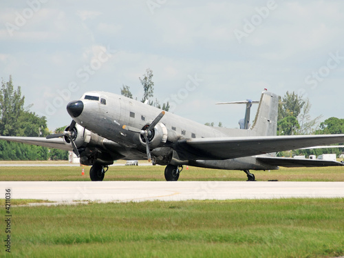 Restored DC-3 turboprop airplane on the tarmac