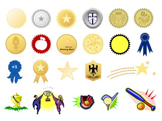 Award seals, isolated against white background