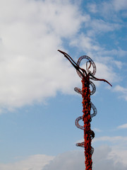 The Brazen Serpent cross on mountain Nebo, Jordan