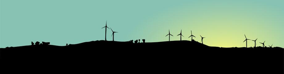 Ombres d'éoliennes