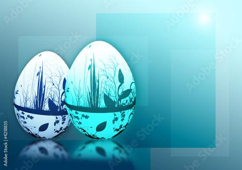 oeufs de pâques bleus - 4218835