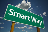 Smart Way Road Sign with dramatic blue sky and clouds. poster