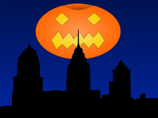 Philadelphia with halloween pumpkin