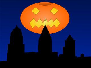 Philadelphia with halloween pumpkin