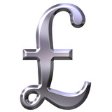 3D Silver British Pound Symbol poster