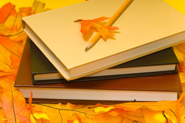 School books and Autumn