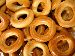 ring bagels as a background