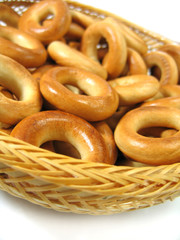 ring bagels on wattled plate