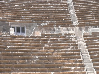 Rows of seats and steps, auditorium, ancient amphitheatre, Bosra
