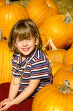 Girl in Pumpkin Patch poster
