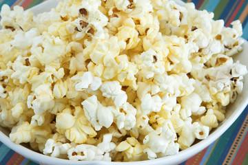 Closeup of a bowl of popcorn