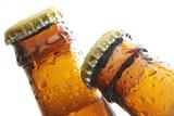 Top of beer´s bottles close
