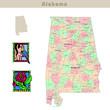 USA states series: Alabama. Political map