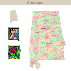 USA states series: Alabama. Political map