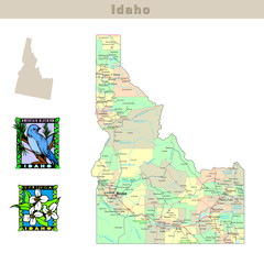 USA states series: Idaho. Political map with counties