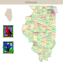 USA states series: Illinois. Political map with counties