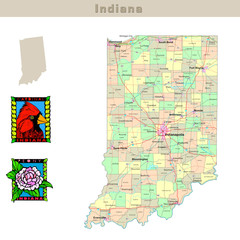 USA states series: Indiana. Political map with counties
