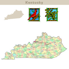 USA states series: Kentucky. Political map with counties