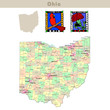 USA states series: Ohio. Political map with counties
