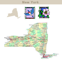 USA states series: New York. Political map with counties
