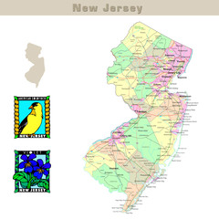 USA states series: New Jersey. Political map with counties