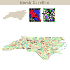 USA states series: North Carolina. Political map with counties