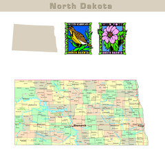 USA states series: North Dakota. Political map with counties
