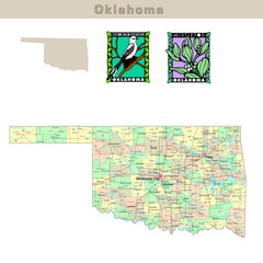 USA states series: Oklahoma. Political map with counties
