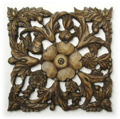 Ornate Wood Carving Ornament on White Background