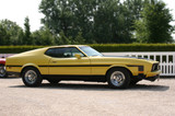 Classic American yellow muscle car