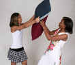 Mother and Daughter play pillow fight