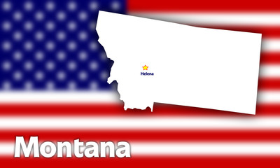 Montana state contour with Capital City against blurred USA flag