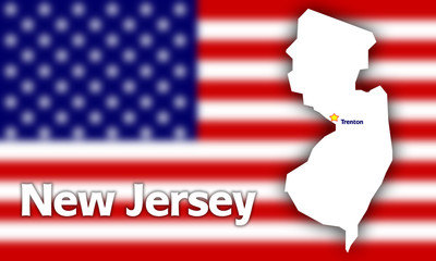 New Jersey state contour against blurred USA flag