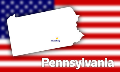 Pennsylvania state contour against blurred USA flag