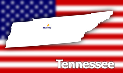 Tennessee state contour against blurred USA flag