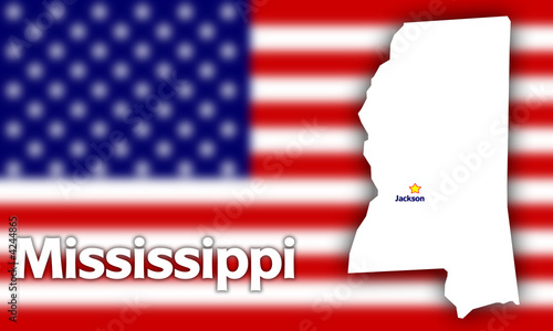 Mississippi state contour against blurred USA flag