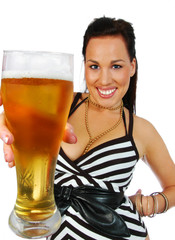 party girl with a pint of beer