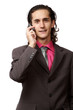emotional businessman talking by mobile phone. on white