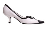 an elegant black and white shoe on high heel poster