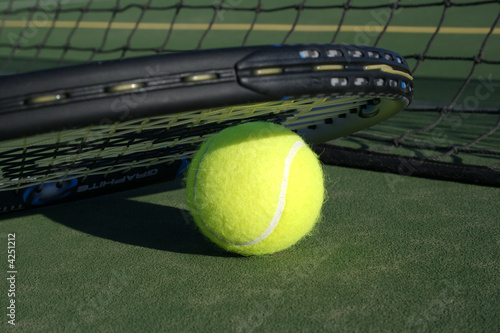 Tennis Ball & Recket on Tennis Court