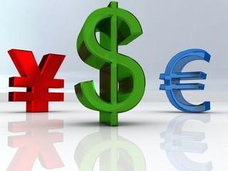dolar, euro, yen